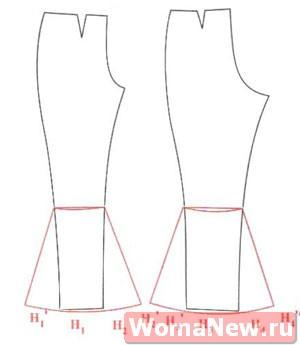 Выкройка брюк клеш от колена